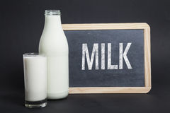 Milk written on blackboard Royalty Free Stock Images
