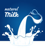 Milk, yogurt or cream blot. White smudge on blue background. Milk label template Stock Photography