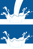 Milk, yogurt or cream blot. White smudge on blue background. Milk splashes silhouettes vector design template. Dairy products concept Stock Images