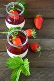 Milk yogurt with strawberries Royalty Free Stock Photo