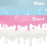 Milk, yogurt, water drips on white background Royalty Free Stock Photos