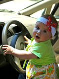 Milka. Young driver in the pretty dress Royalty Free Stock Photos
