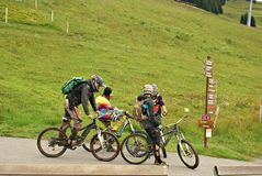 The Milka Line in Saalbach ,a ride track for the whole family ,on the Kohlmais Mountains. Royalty Free Stock Images