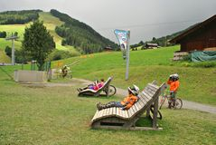 The Milka Line in Saalbach ,a ride track for the whole family ,on the Kohlmais Mountains. Royalty Free Stock Photo