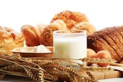 Milkand bread Stock Photos