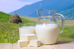 Milkand cheese. Milk jug  against a mountains in background Stock Image