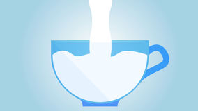 Milking cup of milk. Milk fills a cup, vector artistic illustration of a product Stock Photos