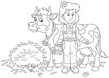 Milkmaid and Cow. Friendly smiling cute dairymaid holding a bucket full of milk and standing near her cow after milking, a black and white vector illustration in Royalty Free Stock Image