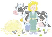 Milkmaid and Cow. Friendly smiling cute dairymaid holding a bucket full of milk and standing near her cow after milking, a vector illustration in a cartoon style Stock Photos