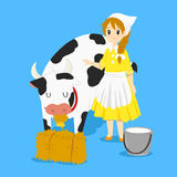 Milkmaid and Cow Vector Stock Photos