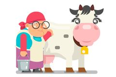 Milkmaid farmer granny adult rancher old age woman peasant character cartoon villager isolated flat design vector. Milkmaid farmer granny adult rancher old age Stock Photo