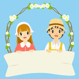 Milkmaid and Farmer Holding Blank Banner Vector Stock Image