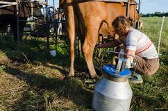 Milkmaid farmer woman milking machine pumps Royalty Free Stock Photos