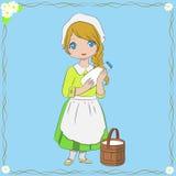 Milkmaid Holding Milk Bottle Vector Illustration Stock Photography
