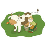 Milkmaid Milking a Cow Royalty Free Stock Photos