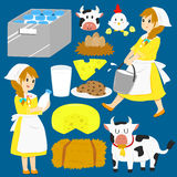 Milkmaid Vector Collection Stock Images