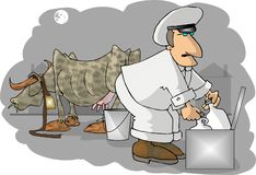 Milkman. This illustration that I created depicts a milkman with a cow in the background Royalty Free Stock Photography