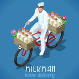 Milkman Bicycle Vintage Isometric. Milkman Bicycle Flat 3d Isometric Fresh Milk Home Delivery Vintage Concept. High Quality Dairy Products Symbol Logo or vector illustration