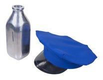 Milkman Hat and Silver Milk Bottle. Milkman delivery hat and silver milk bottle - path included Stock Photo