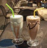 Milks shake do pistache e da banana Fotografia de Stock Royalty Free