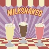 Milksakes rocznika plakat Obrazy Stock