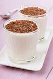 Milkshake για δύο με το ξύρισμα σοκολάτας Στοκ Εικόνες