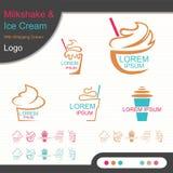 Milkshake и мороженое с логотипом взбивая сливк - вектором иллюстрация вектора