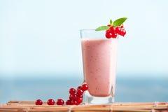 Milkshake красной смородины с листьями мяты и море на предпосылке Стоковые Изображения RF