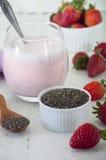 Milkshake клубник с chia Стоковое Изображение