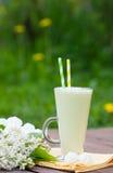 Milkshake, меренга, букет сирени Стоковая Фотография