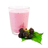 Milkshake with a blackberry and a leaf Royalty Free Stock Images