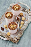 Milkshake with chocolate and cookies on a vintage tray Royalty Free Stock Image