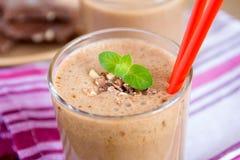 Milkshake (chokolate and banana smothie) Stock Photos