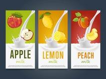 Milkshake concept with milk splash and fruit Royalty Free Stock Images