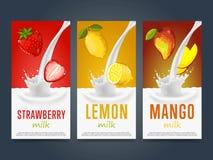 Milkshake concept with milk splash and fruit Stock Photo
