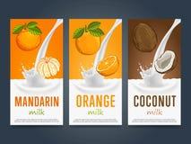 Milkshake concept with milk splash and fruit Royalty Free Stock Photos