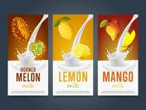 Milkshake concept with milk splash and fruit Royalty Free Stock Photography