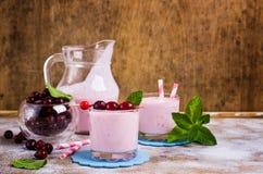 Milkshake with cranberry Stock Image