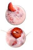 Milkshake da morango isolado no branco Fotos de Stock