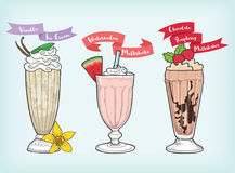 Milkshake design vector and cliparts Royalty Free Stock Photography