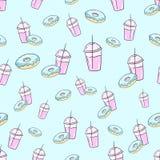 Milkshake and donut seamless pattern vector Stock Photos