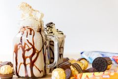 Milkshake för efterrätt royaltyfria bilder