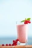 Milkshake för röd vinbär med mintkaramellsidor och hav på bakgrunden Arkivfoto