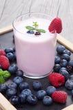Milkshake with fresh berries Stock Images