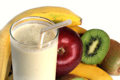 Milkshake and Fresh fruits Stock Images