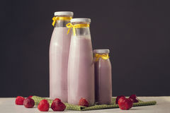 Milkshake freshly cooked with strawberry taste. Healthy Lifestyl. E. Fitness and diet Royalty Free Stock Photos