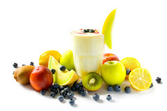 Milkshake with fruits Stock Photography