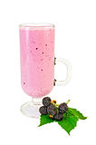Milkshake in goblet of blackberry and leaf Stock Photography