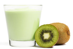 Milkshake with a kiwi and a half kiwifruit aside Royalty Free Stock Image