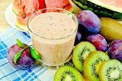 Milkshake with kiwi and watermelon Royalty Free Stock Photo